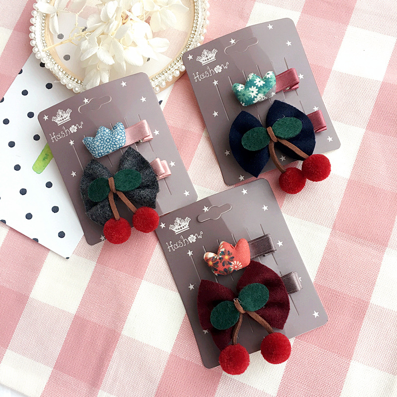 Korea Hairpin Cartoon Flowers Hair Clips for Girls Colorful Hairball Hairpins Hair Bows Hair Accessories