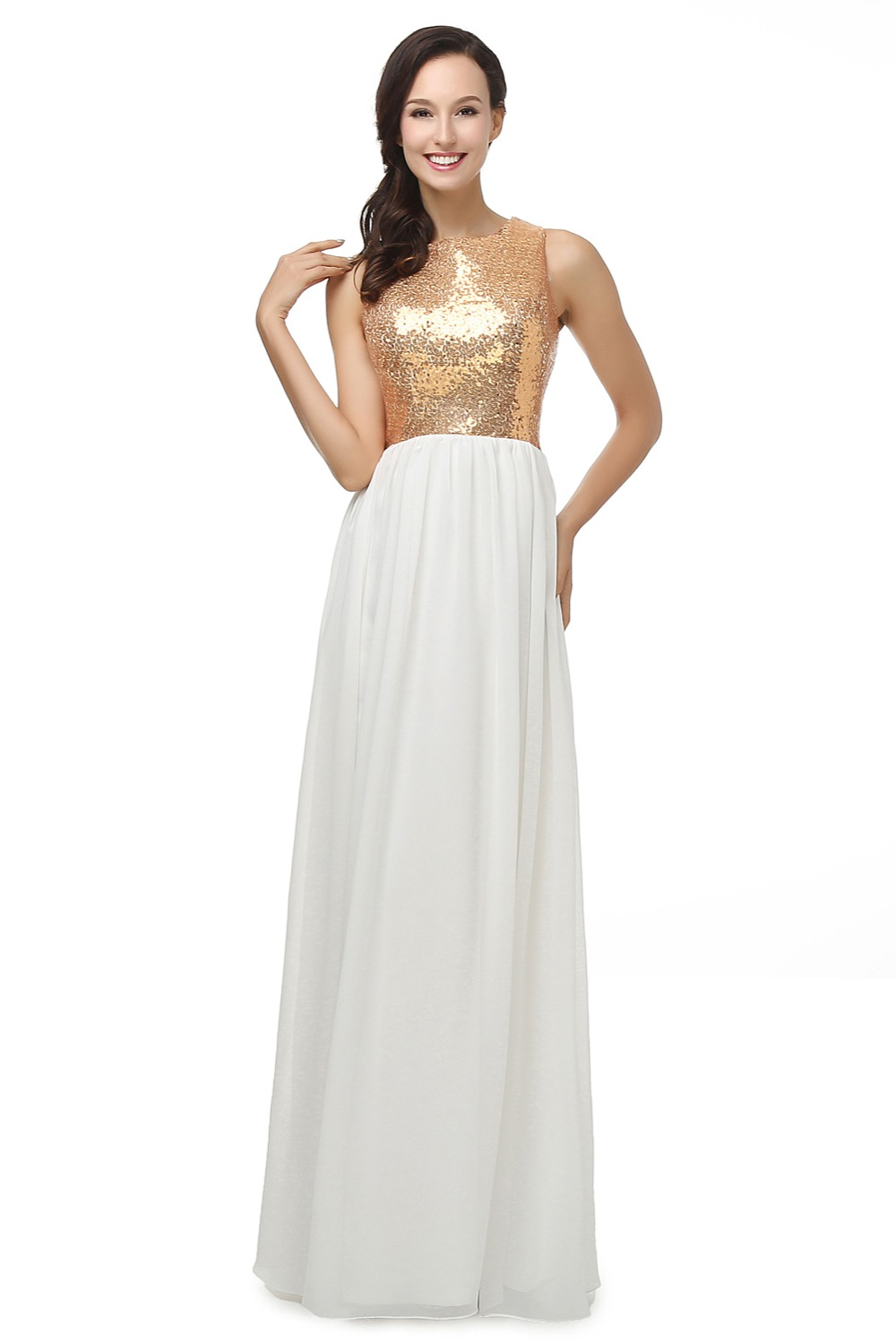 formal dresses for wedding gold sequined and white chiffon tank evening dress 4317