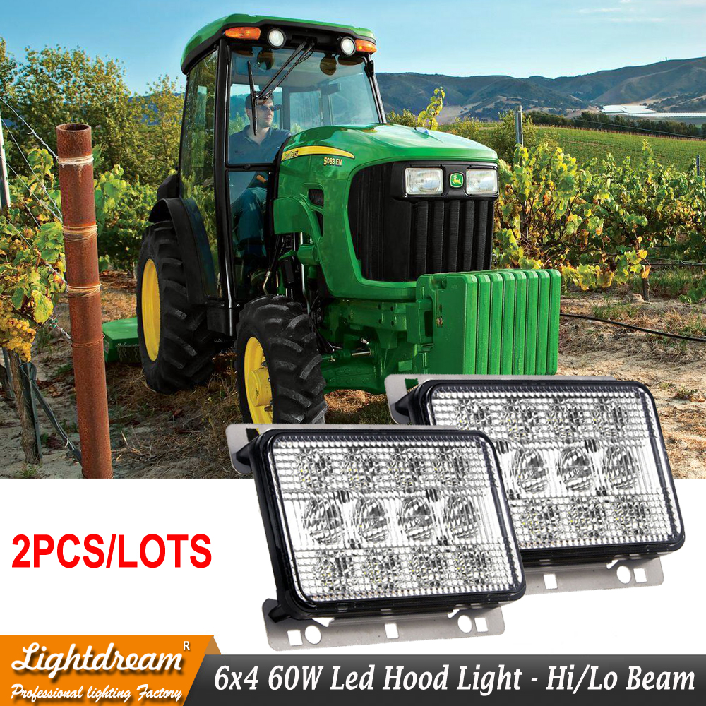 OEM Part Numbers AL152328 RE269110 AL152329 6x4 60W 12Leds IP67 3500 lumens Oblong Led Truck tractors Agriculture lights x2pcs