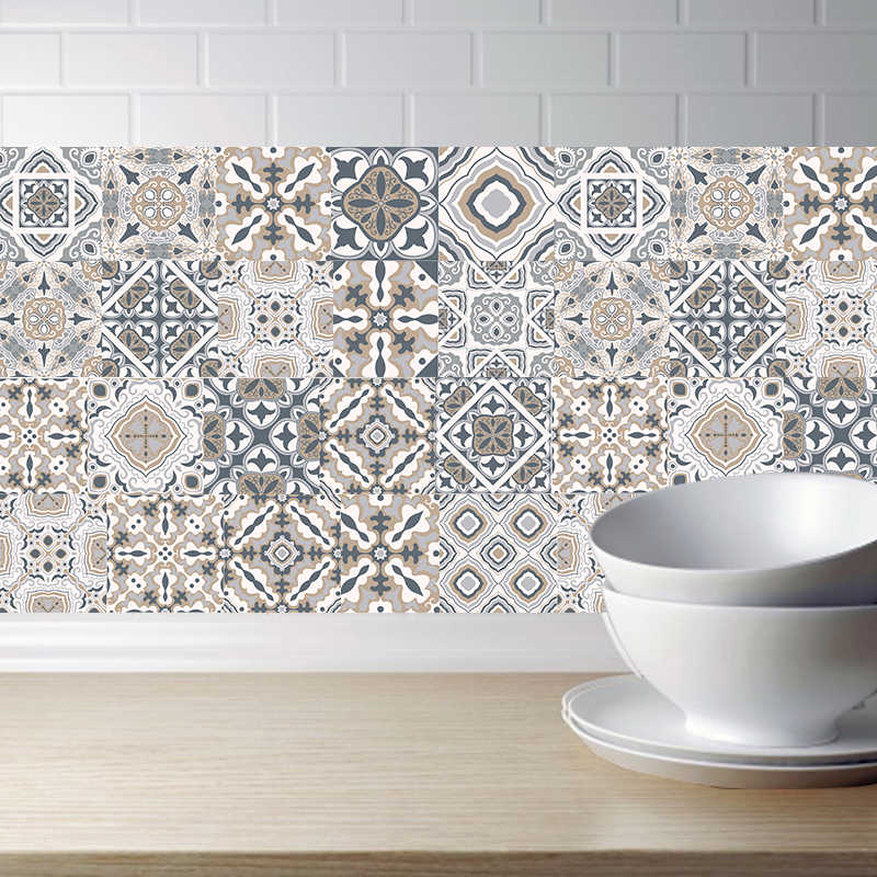 Arabic Retro Tile Stickers For Kitchen Bathroom PVC Self Adhesive Wall Stickers Living Room DIY Decor Wallpaper Waterproof Decal