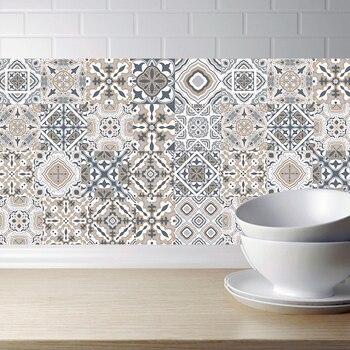 Arabe rétro tuile autocollants pour cuisine salle de bains PVC auto-adhésif Stickers muraux salon bricolage décor papier peint étanche décalcomanie