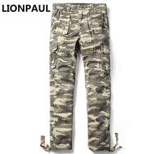 LIONPAUL Hot Sale Promotion Zipper Fly Pockets Cargo Pants Mid font b Oxford b font Military
