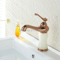 Free Shipping Luxury Gold Plated Marble Bathroom Sink Mixer Tap White Marble Body Rose Golden Brass Basin Faucet M 017