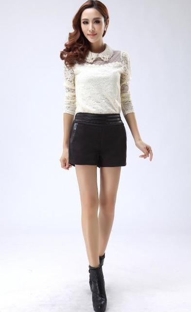 D50 talles para las mujeres otoño invierno splice mid cintura recta espesar pantalones cortos de lana femeninos caliente pantalones cortos de lana casuales e523c 1170 #