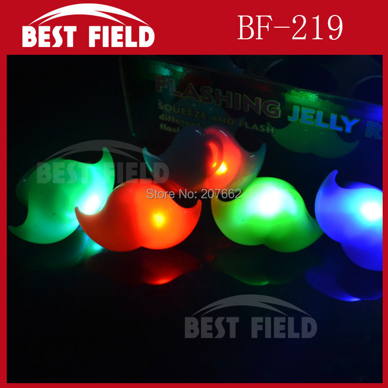 Free Shipping 576pcs/lot 4*5CM soft flicker led beard finger ring novelty finger light jelly ring for party supplies