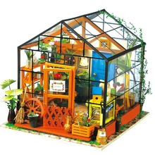 Robotime LED 3D Wooden Puzzle DIY Toy House Garden Furniture Model Building Kits Creative Wood Toys For Adults Flowers