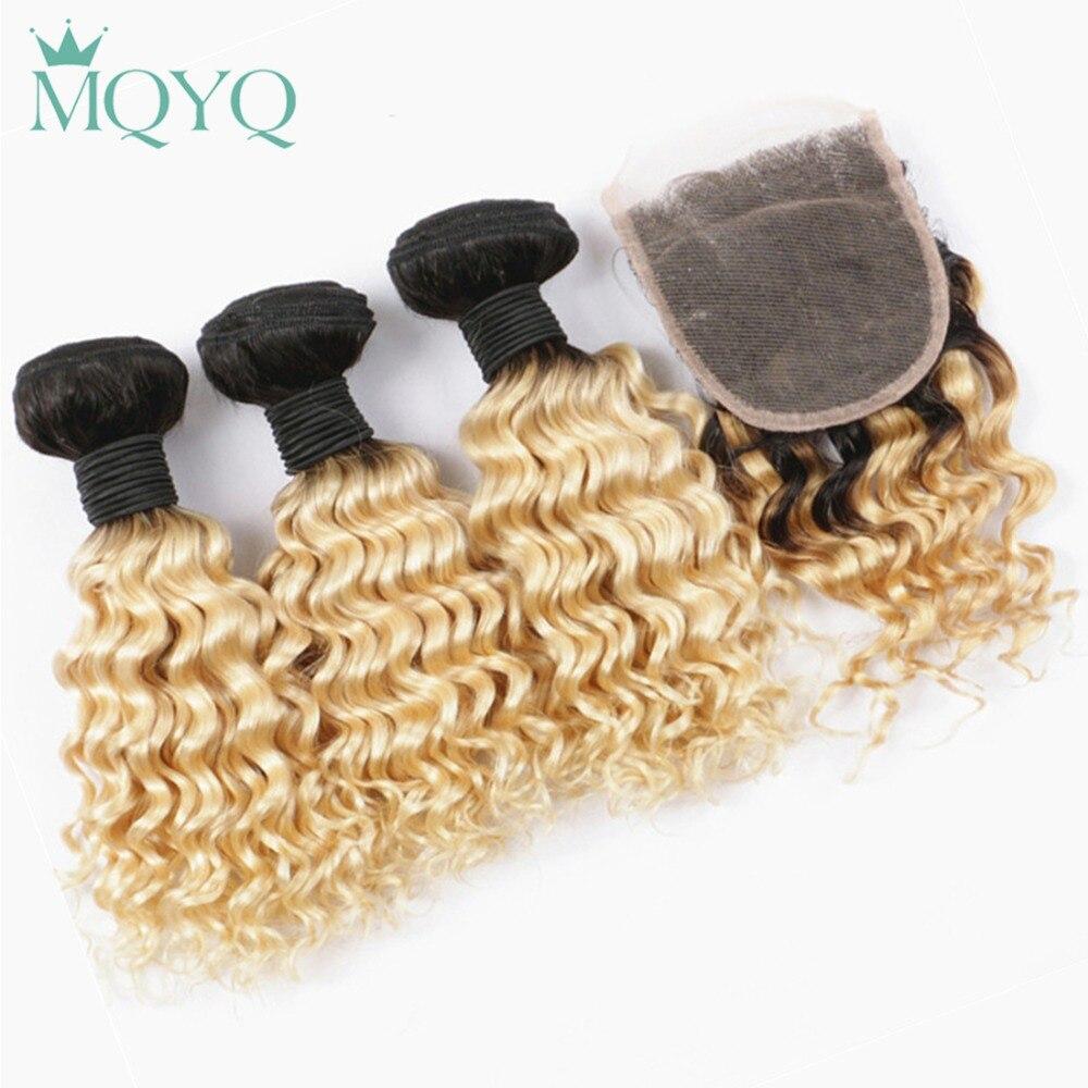 MQYQ Brazilian Deep Wave Human Hair Weave 3 Bundles With Lace Closure Ombre 1b 613 Blonde