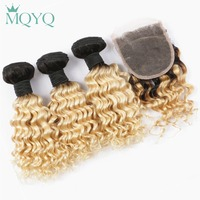 MQYQ Brazilian Deep Wave Human Hair Weave 3 Bundles With Lace Closure Ombre 1b 613 Blonde Extensions Human Hair With Closure