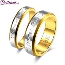 Nerezový zlatý snubní set prstenů s nápisem Forever love