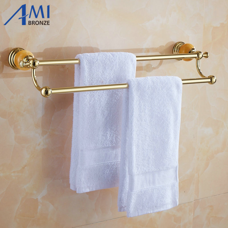 62 Jade Series Golden Polish Copper With Jade Double Towel Bar Continental Bathroom Accessories Towel Rack Towel Shelf 50CM continental gold product towel rack bar activities multi pole design