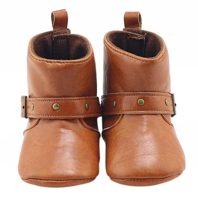 Hot Winter Classic Brown Baby Cowboy Boots PU Buckle Soft Soled Baby Girl Boots Infant Toddler Shoes First Walkers