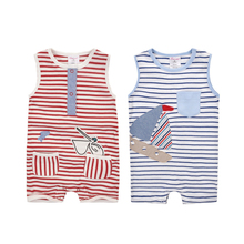 Moms Care Baby Striped Rompers 100% Cotton Sleeveless Wtih Pockets Baby Wear Summer Infant Jumpsuit Boys Girls Clothes