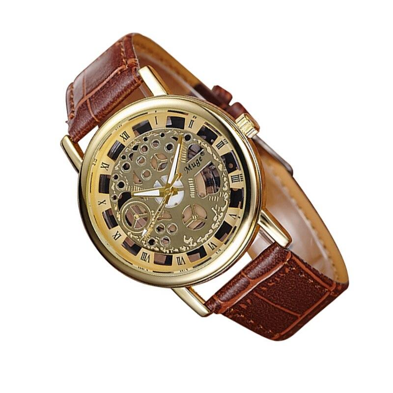 Hollow Roman numerals quartz Watch Fashion Automatic women leather wristwatch top quality woman waterproof datejust clock luxury