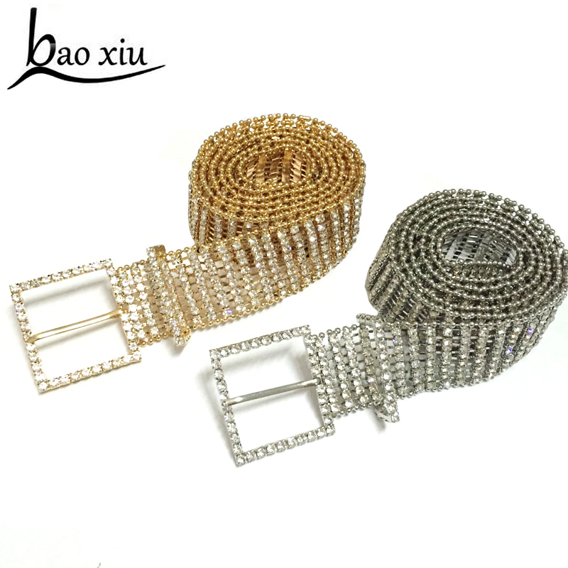 New Crystals Bridal accessories 2018 wide Metal chain Women Rhinestone   Belt   Cheap Wedding Accessories For Dresses