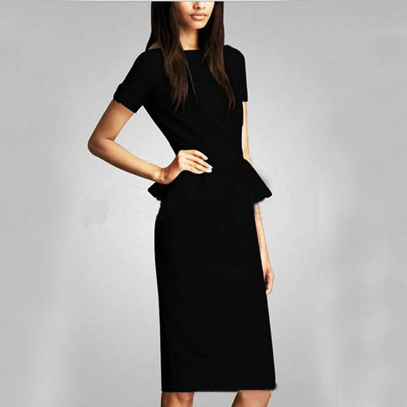 Fashion Casual Women Dress Celebrity Style O Neck Short Sleeve Shift Party Midi Dresses Size S M
