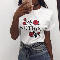 Women T Shirt 2018 Summer Style T Shirt Rose Letters Printing Harajuku O Neck Short Sleeve