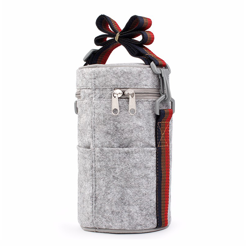 WORTHBUY Portable Thermal Lunch Bag Solid Felt Lunch Box Bags Tote With Tinfoil For Women Kids Picnic Camping Set