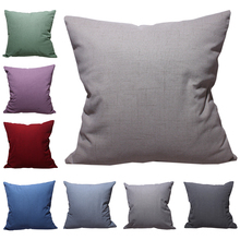 CURCYA Faux Linen Cushion Cover Thick Simple Solid Colors Polyester Throw Pillow Fashion Decorative Sofa Pillowcase
