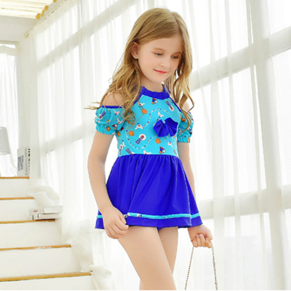 P&j Children one piece dress swimsuit with bow dressed lovely bathing suit for teenagers 2017 brand new drop shipping free shipping new arrival children s clothing child one piece dress twinset winter dress good quality coat dress