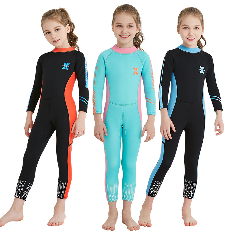 2018 Kids Swimwear Full Wetsuit Diving Surfing Watersports Wetsuits Junior Girls 2.5MM Back Zip Long Sleeve Swimsuit Wet Suit ...