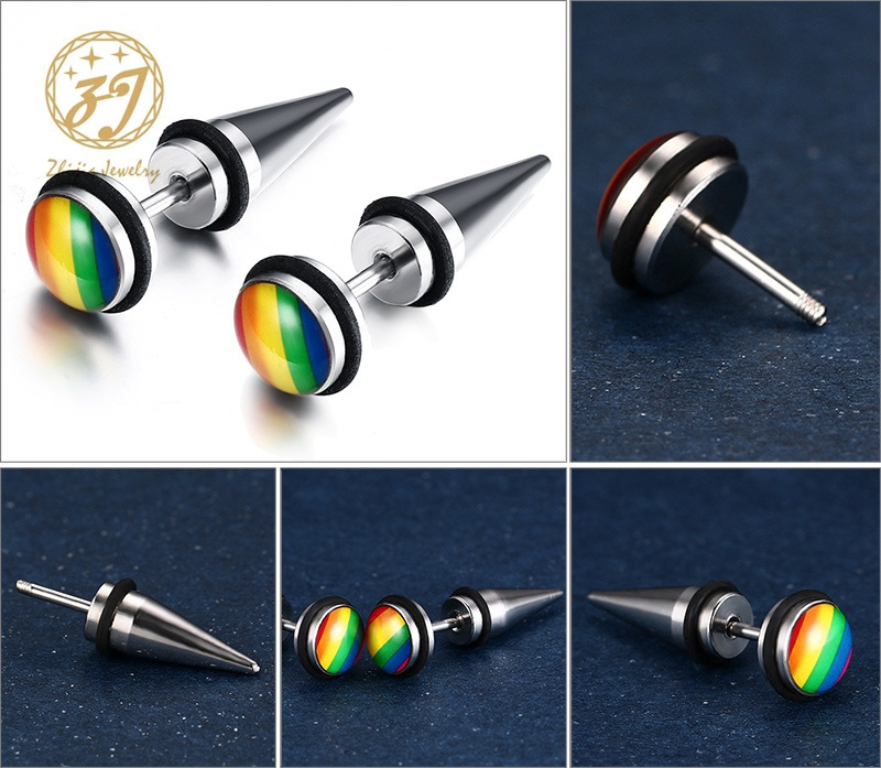 Rainbow Earring Gay Pride Spike Stud Earrings for Men Women Stainless Steel Fashion Jewelry Brinco Aretes Punk Rock Gift