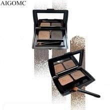 AIGOMC Brand Eye Makeup 2 Color Eyebrow Powder Waterproof Brow Palette + Brush Enhancer
