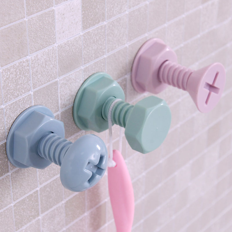 Buy plastic screw design hook stick hooks for Kids room hooks