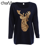 VESTLINDA Christmas Deer Print Women T Shirt Long Sleeve Winter T Shirt Casual Female Tops Black
