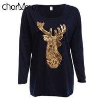 VESTLINDA Christmas Deer Print Women T Shirt Long Sleeve Winter T Shirt Casual Female Tops Black