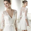 Short Wedding Dresses Sexy V-neck Lace Appliques Half Sleeve Bridal Gown Knee-Length designer dress
