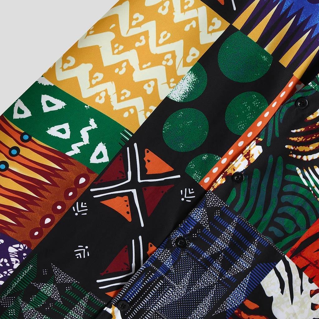 Womail New Arrival Vintage Cotton Men Shirt Short Sleeve Ethnic Style Print Tops 2019 Loose Hawaiian Shirts Men Streetwear 4