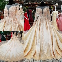 Wedding Dresses Long Sleeve Luxury Appliqued Gold Embroidery Tulle Bride Marriage Gowns Vestido De Noiva
