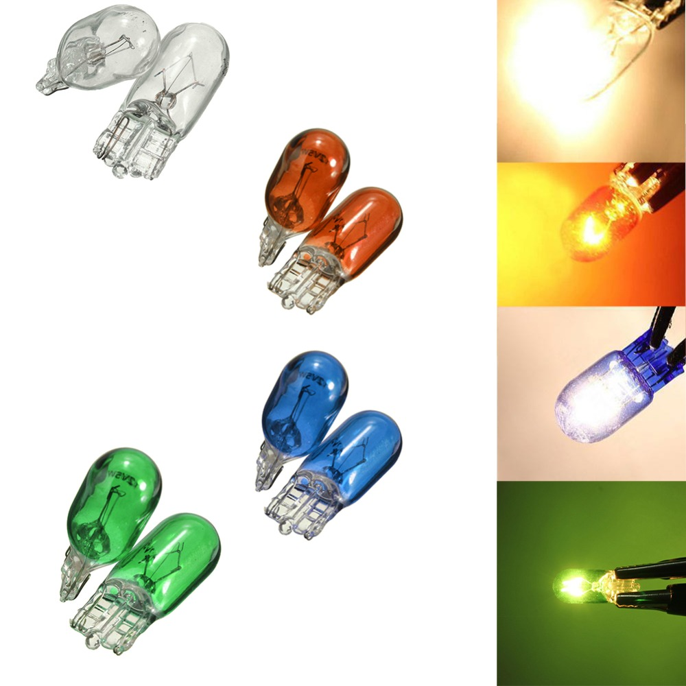 2pcs T10 Halogen Bulb W5W White,Blue,Amber,Green Color 12V 5W 194 501 Bright Side Wedges Car Light Source Instrument Lamp