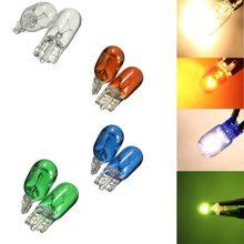10x t10 lâmpada de halogênio w5w branco, azul, âmbar, cor verde 12v 5w 194 501 cunhas laterais brilhantes carro fonte de luz instrumento lâmpada #280440