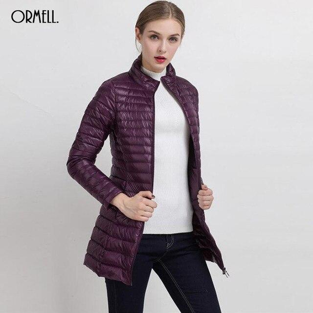 ORMELL 2016 de Inverno Das Mulheres Jaquetas e Casacos Das Mulheres Quentes de Alta Qualidade Ultraleve Longo Fina Para Baixo Casaco Feminino Plus Size