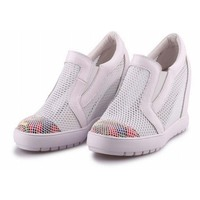 New Fashion Elevator Height Increasing Casual Shoes Women Slip On Lazy Korean Thick Bottom Breathable Mesh