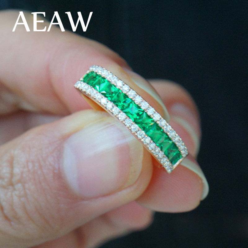 AEAW Lab created Colombian Green Emerald Princess Gemstone Solitaire with Moissanite Enagement Ring 14k White Gold