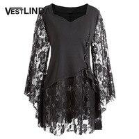 VESTLINDA Plus Size Lace Up Layered Women Blouse Tops Gothic Style Flare Sleeve Ruffles Lace Ladies