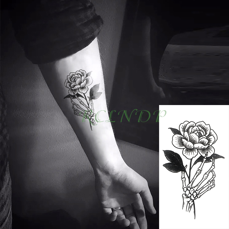 72e9332c3 Waterproof Temporary Tattoo Sticker Rose Flower paw Fake Tatto Flash Tatoo  Tatouage Wrist Foot Hand Arm