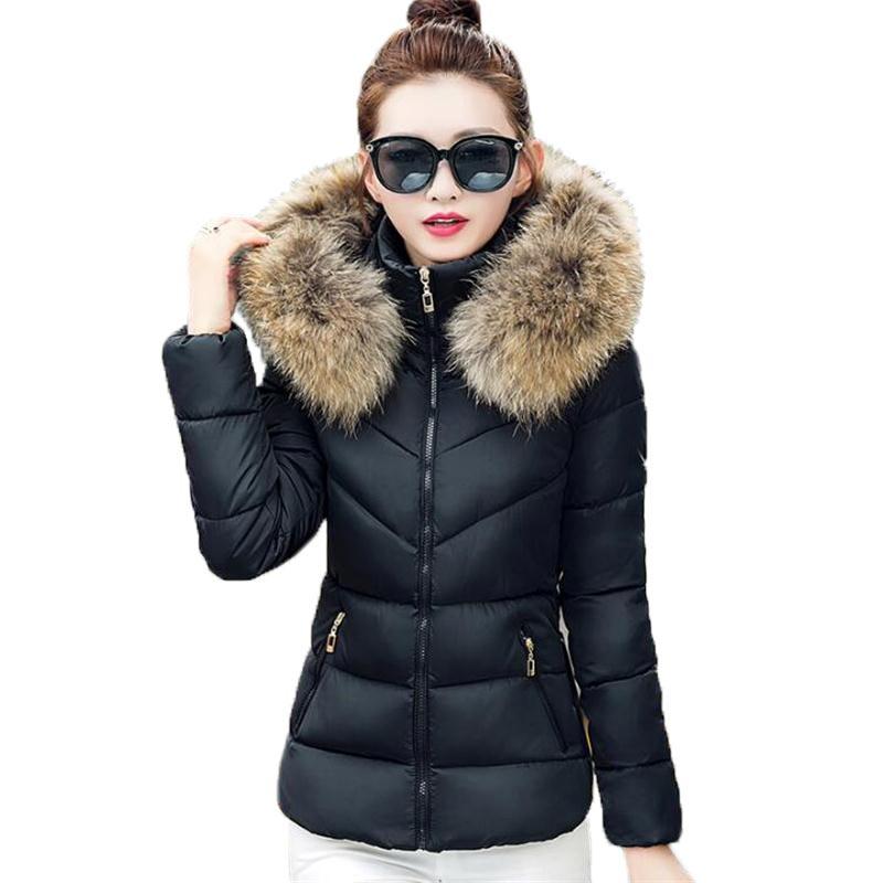 ФОТО Fur Collar Parka Cotton Jacket 2016 Winter Jacket Women Thick Snow Wear Winter Coat Lady Clothing Female Jacket Parkas