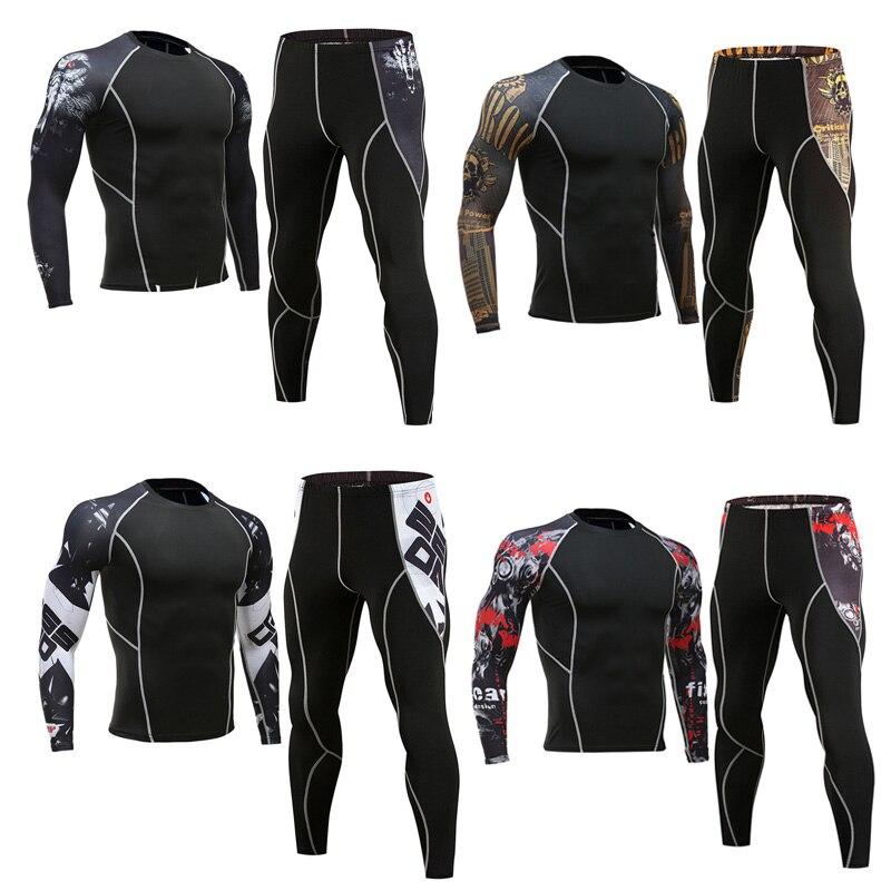 Top Men's Clothing Base Layer Thermal  Underwear  Fitness Training Compression Tights Running Shirts Man Leggings  Rashgard male