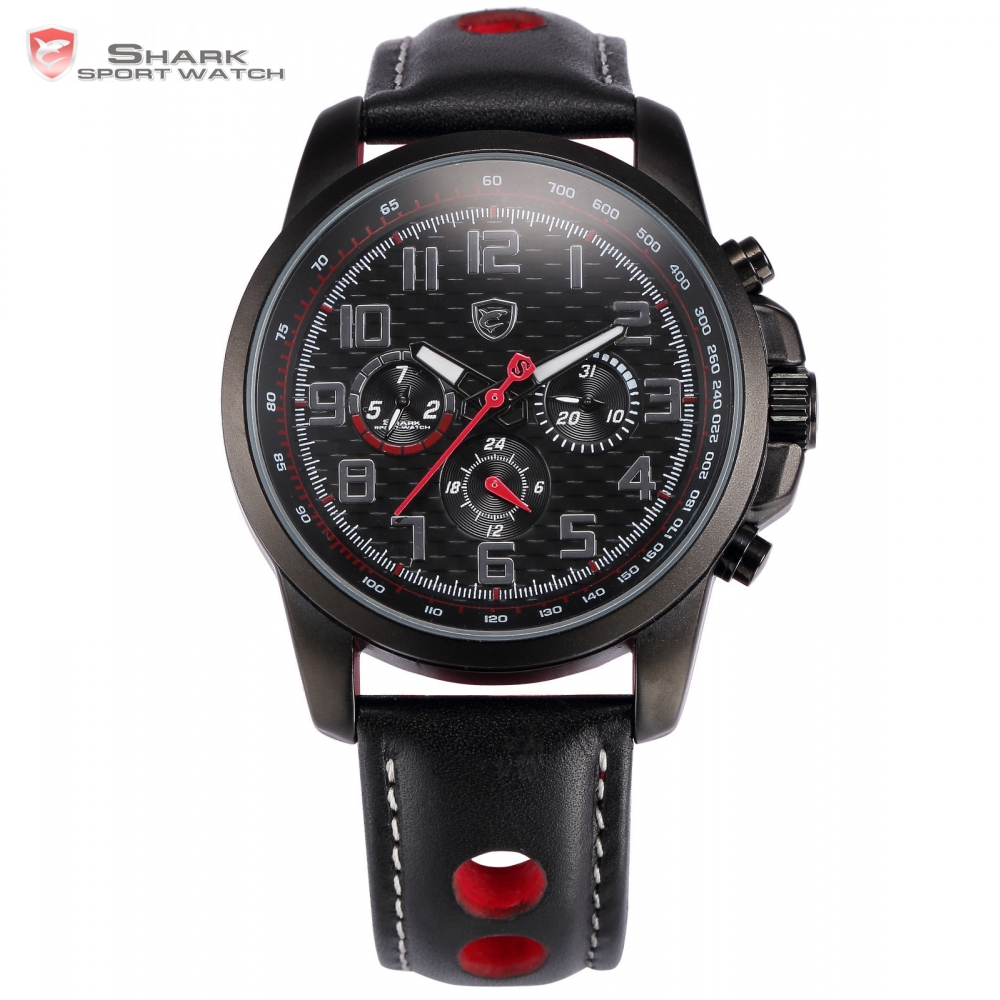 Saw Shark Sport Watch Dual Time Auto Date Stainless Steel Case Black Red Dial Leather Band Relogio Men Quartz Wristwatch /SH186 oulm 3548 men dual movt japan quartz watch with big dial stainless steel band analog sport watch vintage watch relogio masculino
