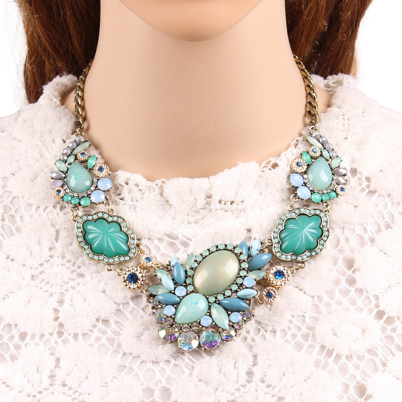 Aliexpress.com   Buy 2018 The Most Popular Statement Exquisite Jewellery  Fashion Colourful Acrylic Stones Gold Necklaces For Sale Women Jewelry from  ... 57c415c8f2eb