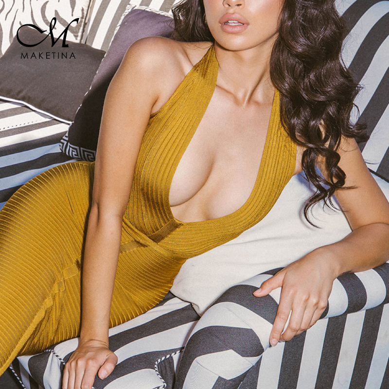 Maketina Backless Halter Bodycon <font><b>Dress</b></font> Bandage <font><b>2018</b></font> <font><b>Sexy</b></font> Deep V Neck Bandage <font><b>Dress</b></font> <font><b>Women</b></font> Plus Size Bodycon Bandage <font><b>Dress</b></font> image