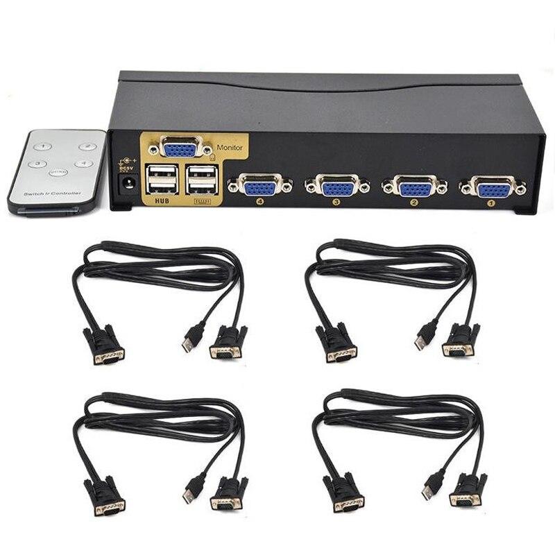 New BOWU Auto 4 Port Smart VGA USB KVM Switch with IR Remote Support One Set