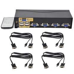 Neue BOWU Auto 4 Port Smart VGA USB KVM Switch mit Ir-fernbedienung Unterstützung One Set Maus Tastatur Monitor Control 4 PC und 4 KVM Kabel