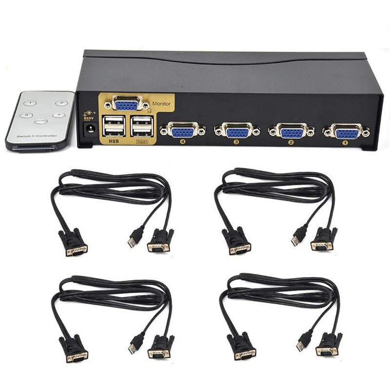 New BOWU Auto 4 Port Smart VGA USB KVM Switch With IR Remote Support One Set Mouse Keyboard Monitor Control 4 PC And 4 KVM Cable