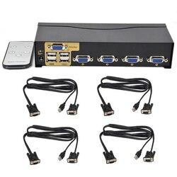 Nuovo BOWU Auto 4 Porte Smart VGA USB KVM Switch con Telecomando IR di Sostegno di Un Set di Mouse Tastiera Monitor di Controllo 4 PC e 4 KVM Cavo