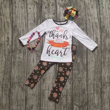 new baby girls Fall/Winter thanksgiving clothing thanks with a great heart outfits children clothes floral pant with accessories