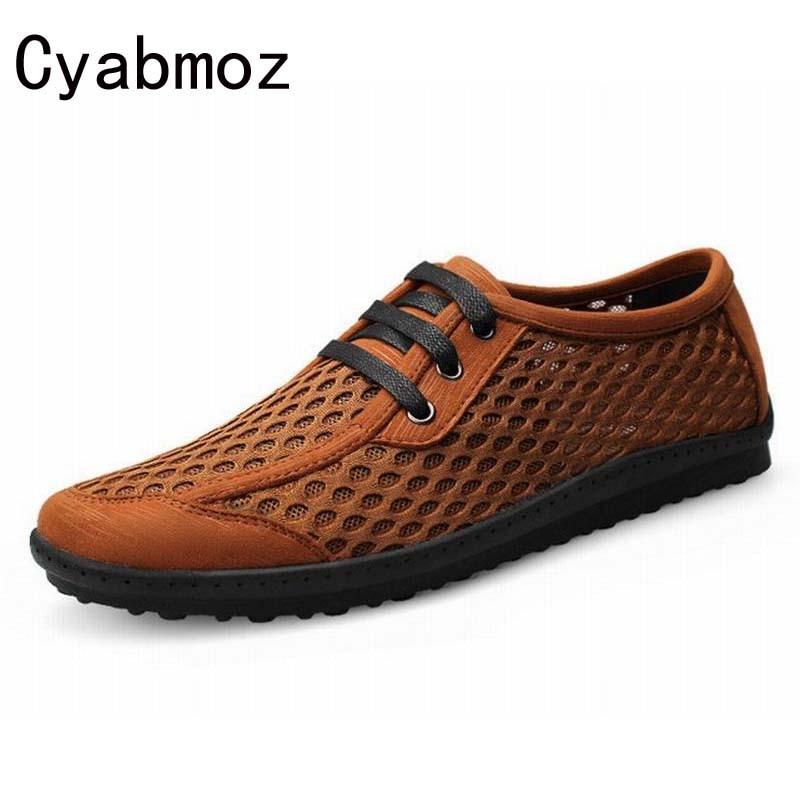 Grande taille 38-46 mode hommes chaussures d'été respirant maille Cool marche appartements hommes chaussures décontractées chaussures à lacets solides chaussures de plage